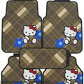 Classic Hello Kitty Cartoon Universal Automobile Carpet Car Floor Mats Rubber 5pcs Sets - Brown