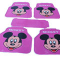 Classic Mickey Mouse Cartoon Disney Universal Auto Carpet Car Floor Mats Rubber 5pcs Sets - Purple