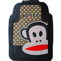 Classic Paul Frank Cartoon Cute Universal Auto Carpet Car Floor Mats Rubber 5pcs Sets - Brown