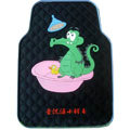 Cute Crocodile Cartoon Duck Universal Automobile Carpet Car Floor Mats Rubber 5pcs Sets - Black
