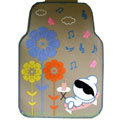 Cute Flower Cartoon Music Universal Automobile Carpet Car Floor Mats Rubber 5pcs Sets - Beige