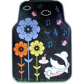Cute Flower Cartoon Music Universal Automobile Carpet Car Floor Mats Rubber 5pcs Sets - Black