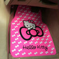 Cute Hello Kitty Cartoon Bowknot Universal Auto Carpet Car Floor Mats Rubber 5pcs Sets - Pink