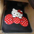 Cute Hello Kitty Cartoon Bowknot Universal Automobile Carpet Car Floor Mats Rubber 5pcs Sets - Black