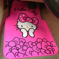 Cute Hello Kitty Cartoon Bowknot Universal Automobile Carpet Car Floor Mats Rubber 5pcs Sets - Pink