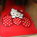 Cute Hello Kitty Cartoon Bowknot Universal Automobile Carpet Car Floor Mats Rubber 5pcs Sets - Red