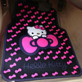 Cute Hello Kitty Cartoon Bowknot Universal Automotive Carpet Car Floor Mats Rubber 5pcs Sets - Pink
