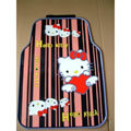 Cute Hello Kitty Cartoon Lines Universal Automobile Carpet Car Floor Mats Rubber 5pcs Sets - Pink