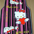 Cute Hello Kitty Cartoon Lines Universal Automobile Carpet Car Floor Mats Rubber 5pcs Sets - Purple