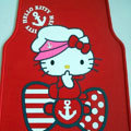 Cute Hello Kitty Cartoon Navy Universal Auto Carpet Car Floor Mats Rubber 5pcs Sets - Red