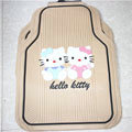 Cute Hello Kitty Cartoon Pair Universal Automobile Carpet Car Floor Mats Rubber 5pcs Sets - Yellow