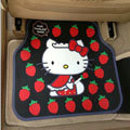Cute Hello Kitty Cartoon Strawberry Universal Automobile Carpet Car Floor Mats Rubber 5pcs Sets - Red