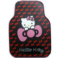 Cute Hello Kitty Cartoon Universal Automobile Carpet Car Floor Mats Rubber 5pcs Sets - Red