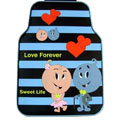 Cute Love Forever Cartoon Sweet Universal Automobile Carpet Car Floor Mats Rubber 5pcs Sets - Blue