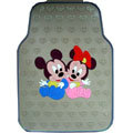Cute Mickey Minnie Mouse Cartoon Heart Universal Auto Carpet Car Floor Mats Rubber 5pcs Sets - Beige