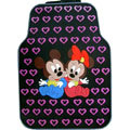 Cute Mickey Minnie Mouse Cartoon Heart Universal Auto Carpet Car Floor Mats Rubber 5pcs Sets - Purple