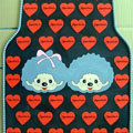 Cute Monchhichi Monlill Cartoon Heart Universal Auto Carpet Car Floor Mats Rubber 5pcs Sets - Red