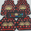 Cute Monchhichi Monlill Cartoon Heart Universal Automotive Carpet Car Floor Mats Rubber 5pcs Sets - Red
