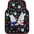 Cute Rabbit Cartoon Flower Universal Automobile Carpet Car Floor Mats Rubber 5pcs Sets - Black