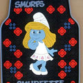 Cute Smurfs Smurfette Cartoon Flower Universal Auto Carpet Car Floor Mats Rubber 5pcs Sets - Red