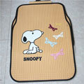 Cute Snoopy Cartoon Butterfly Universal Automobile Carpet Car Floor Mats Rubber 5pcs Sets - Yellow