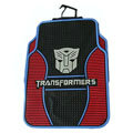 Cute Transformers Autobot Cartoon Universal Auto Carpet Car Floor Mats Rubber 5pcs Sets - Red