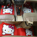 Elegant Hello Kitty Cartoon Princess Universal Automobile Carpet Car Floor Mats Rubber 5pcs Sets - Red