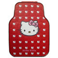 Fashion Hello Kitty Cartoon Universal Auto Carpet Car Floor Mats Rubber 5pcs Sets - Red