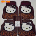 Fashion Hello Kitty Rose Flower Universal Auto Carpet Car Floor Mats Rubber 5pcs Sets - Brown