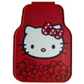 Fashion Hello Kitty Rose Flower Universal Automobile Carpet Car Floor Mats Rubber 5pcs Sets - Red