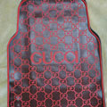 High Quality Gucci Waterproof Universal Automobile Carpet Car Floor Mats Rubber 5pcs Sets - Red