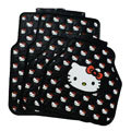 Luxury Hello Kitty Cartoon Cute Universal Automobile Carpet Car Floor Mats Rubber 5pcs Sets - Black
