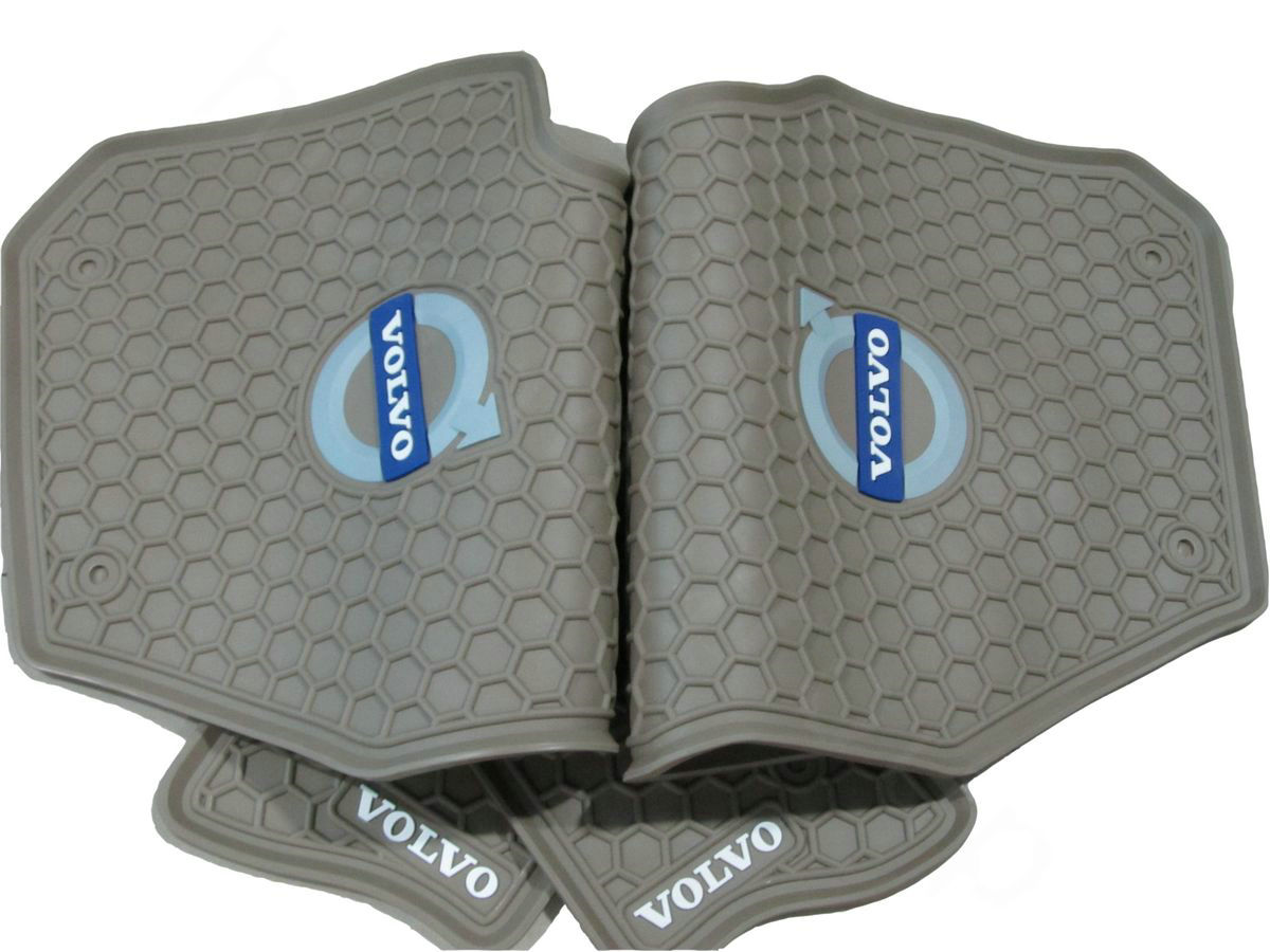 Floor mats xc90 - Name Luxury Volvo Auto Logo Tailor Made Carpet Car Floor Mats Rubber 5pcs Sets For Volvo Xc90 Beige