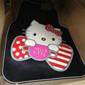 Princess Hello Kitty Cartoon Bowknot Universal Automobile Carpet Car Floor Mats Rubber 5pcs Sets - Black