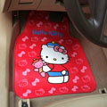 Unique Hello Kitty Cartoon Bear Universal Automobile Carpet Car Floor Mats Rubber 5pcs Sets - Red
