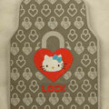 Classic Hello Kitty Lock Cartoon Universal Automotive Carpet Car Floor Mats Rubber 5pcs Sets - Gray