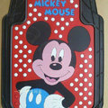 Cute Mickey Mouse Cartoon Point Universal Automobile Carpet Car Floor Mats Rubber 5pcs Sets - Red