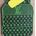 Luxury LV Louis Vuitton Unique Universal Automotive Carpet Car Floor Mats Rubber 5pcs Sets - Green