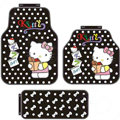 Point Hello Kitty Cartoon Fruits Universal Auto Carpet Car Floor Mats Rubber 5pcs Sets - Black