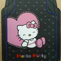 Princess Hello Kitty Cartoon Heart Universal Automobile Carpet Car Floor Mats Rubber 5pcs Sets - Black