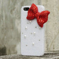 Bling Bowknot Rhinestone Crystal Cases Pearls Covers for iPhone 6 - Red
