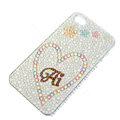 Bling Swarovski crystal cases Heart diamond covers for iPhone 6 - White