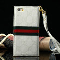 Classic Gucci High Quality Leather Flip Cases Holster Covers For iPhone 6 - White