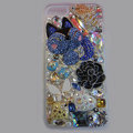 Bling Swarovski crystal cases Flower diamond cover for iPhone 6 Plus - White