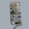 Bling Swarovski crystal cases Flowers diamond cover for iPhone 6 Plus - White