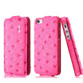 IMAK Ostrich Series leather Case holster Cover for iPhone 6 Plus - Rose