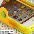 IMAK cross leather case Button holster holder cover for iPhone 6 Plus - Green