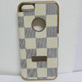LV LOUIS VUITTON leather Cases Luxury Hard Back Covers Skin for iPhone 6 Plus - Beige