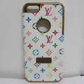 LV LOUIS VUITTON leather Cases Luxury Hard Back Covers Skin for iPhone 6 Plus - White