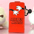 Mickey Mouse Flip leather Case Holster Cover Skin for iPhone 6 Plus - Red